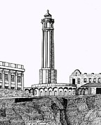 Pen And Ink Historic Buildings Drawings Drawings - Alcatraz Island Lighthouse by Frederic Kohli