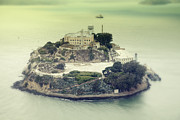Arial View Photos - Alcatraz Vintage Arial View 2. by Laszlo Rekasi
