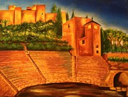Sanchez Paintings - Alcazaba and Roman Theatre of Malaga by Manuel Sanchez