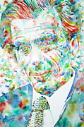 Perception Paintings - ALDOUS HUXLEY - watercolor portrait by Fabrizio Cassetta