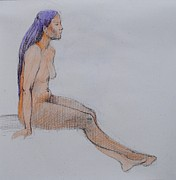 Figure Study Drawings Prints - Alert Print by Nika Zakharov