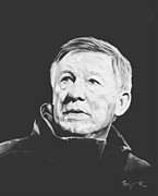 Soccer Painting Framed Prints - Alex Ferguson Framed Print by Stephen Rea