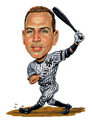 Ny Yankees Paintings - Alex Rodriguez by Art