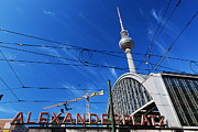 Television Tower Posters - Alexanderplatz sign and Television tower Berlin Germany Poster by Michal Bednarek