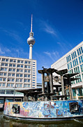 Alexanderplatz Prints - Alexanderplatz view on Television tower Berlin Germany Print by Michal Bednarek