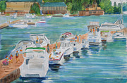 River View Paintings - Alexandria Bay Ny Saturday Afternoon by Robert P Hedden