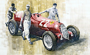 Watercolor Framed Prints - Alfa Romeo 12C-36 Tazio Nuvolari Coppa Ciano race 1937 Framed Print by Yuriy  Shevchuk