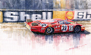 Watercolor  Paintings - Alfa Romeo T33 B2 Le Mans 24 1968 Galli Giunti by Yuriy  Shevchuk