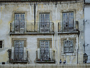 Cobblestones Posters - Alfama Windows Poster by Deborah Smolinske
