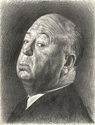 Horror Movies Drawings - Alfred Hitchcock by Michael Morgan