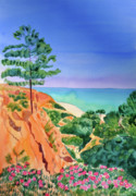 Bluesky Painting Prints - Algarve cliffs Print by Mary Stubberfield