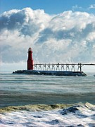 Christopher Arndt Metal Prints - Algoma Pierhead Lighthouse Metal Print by Christopher Arndt