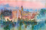Wet Into Wet Watercolor Framed Prints - Alhambra de Granada Framed Print by Yevgenia Watts