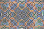 Carved Prints - Alhambra tile detail Print by Jane Rix