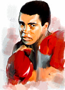 David Drawings - Ali Muhammad Ali  by Iconic Images Art Gallery David Pucciarelli