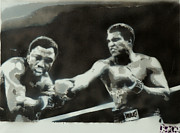 Ali Painting Posters - Ali vs Frazier Poster by Barry Boom