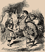 Adventures Drawings Posters - Alice and Dodo Birds Poster by
