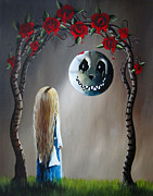 Cat And Moon Paintings - Alice And The Beautiful Nightmare by Shawna Erback by Shawna Erback