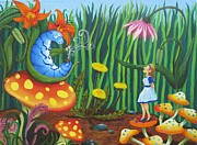 Alice In Wonderland Framed Prints - Alice and the Blue Caterpillar Framed Print by Morgan Leshinsky