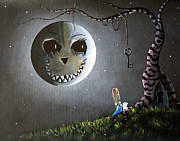 Creepy Painting Metal Prints - Alice And The Cheshire Moon by Shawna Erback Metal Print by Shawna Erback