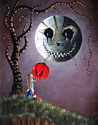 Man In Moon Prints - Alice And The Dripping Rose by Shawna Erback Print by Shawna Erback