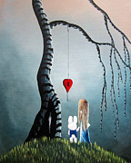 Alice In Wonderland Painting Metal Prints - Alice And The Enchanted Key by Shawna Erback Metal Print by Shawna Erback