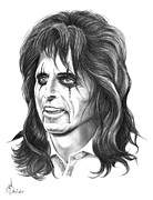 Rock N Roll Drawings Prints - Alice Cooper Print by Murphy Elliott