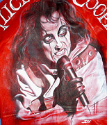 Metallica Paintings - Alice Cooper portrait on leather by Danielle Vergne by Danielle Vergne