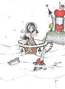 Tea Party Drawings - Alice Floating by Sheri Athwal