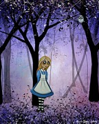 Alice In Wonderland Framed Prints - Alice in an Enchanted Forest Framed Print by Charlene Murray Zatloukal