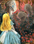 Alice In Wonderland Painting Metal Prints - Alice in mushroom acres Metal Print by Luis  Navarro