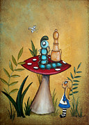 Hookah Painting Posters - Alice in Wonderland Art Alice and the Caterpillar Poster by Charlene Murray Zatloukal