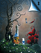 Alice In Wonderland Painting Metal Prints - Alice In Wonderland Art by Shawna Erback Metal Print by Shawna Erback