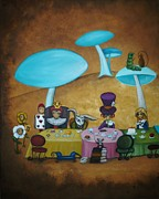 Mad Hatter Painting Posters - Alice in Wonderland Art - Mad Hatters Tea Party I Poster by Charlene Murray Zatloukal