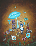 Hookah Painting Posters - Alice in Wonderland - In Wonder Poster by Charlene Murray Zatloukal