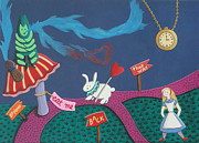 Hookah Painting Posters - Alice in Wonderland Poster by Lina Velez