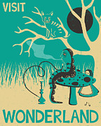 Vintage Blue Posters - Alice in Wonderland Travel Poster Poster by Jazzberry Blue