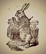 Mad Hatter Prints - Alice in Wonderland White Rabbit Sepia Sparkle Print by Tricia SweetRascal Photos