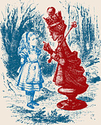 Chess Queen Drawings Framed Prints - Alice Meeting the Red Queen Framed Print by