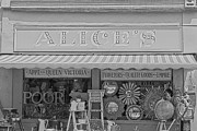 Shop Front Prints - Alices Antiques in Black and White Print by Georgia Fowler