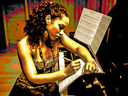 Original Oil On Canvas Posters - Alicia Keys Poster by Byron Fli Walker