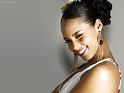 Keys Digital Art - Alicia Keys Smiling by Sanely Great