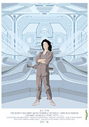 Fan Digital Art Prints - Alien 1979 Movie Poster - feat. Ripley Print by Peter Cassidy