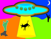 Abduction Digital Art Prints - Alien Abduction Print by Ricardo  De Almeida