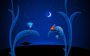 Night Art Prints - Alien and Chameleon Print by Sanely Great