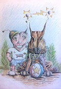 Soccer Drawings Prints - Alien Boy and his best friend Print by Robin B E Muirhead Esq