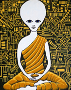 Sacred Art Paintings - Alien Buddha with Circuit Board by Nathan Winsor
