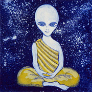 Sacred Art Paintings - Alien Buddha with Stars by Nathan Winsor