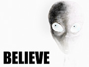 Strange Digital Art Posters - Alien Grey - Believe Inverted Poster by Pixel Chimp
