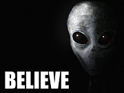 Strange Digital Art Posters - Alien Grey - Believe Poster by Pixel Chimp